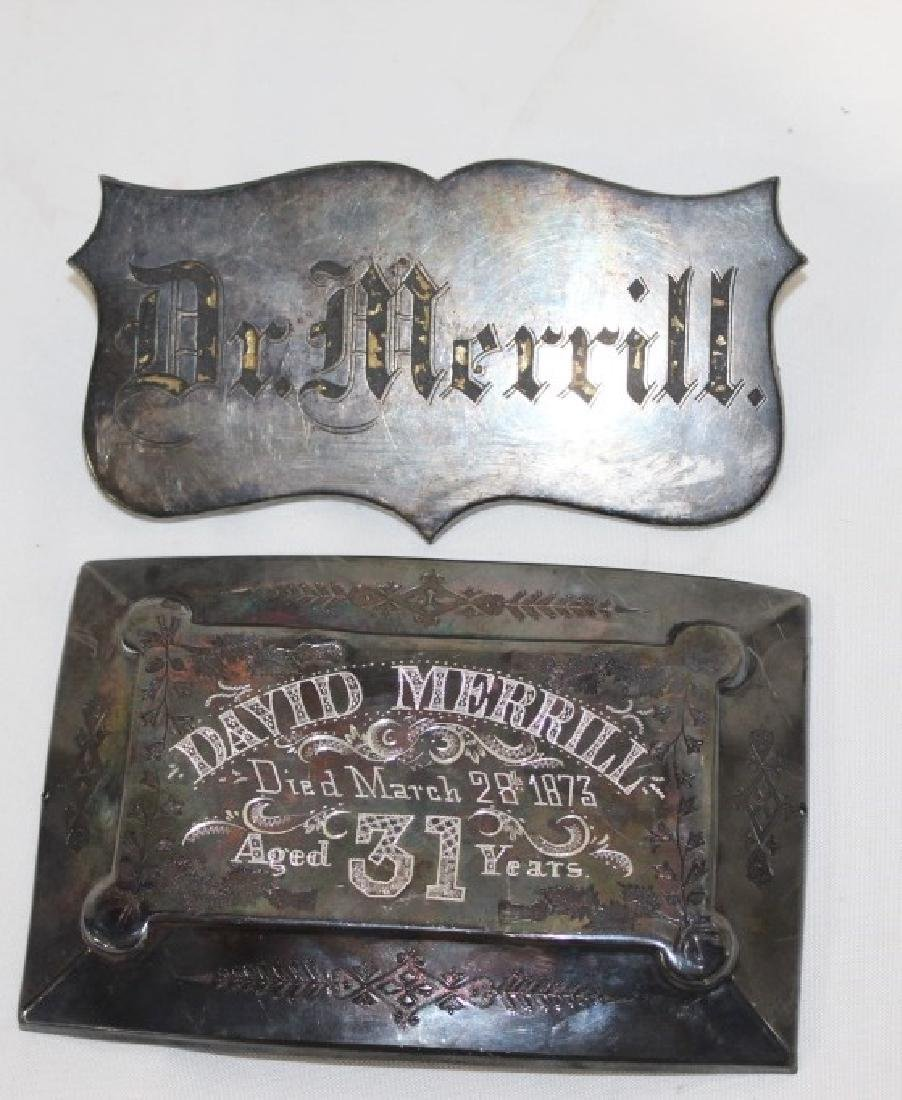 Antique Dr. David Merrill Coffin Plate c.1873
