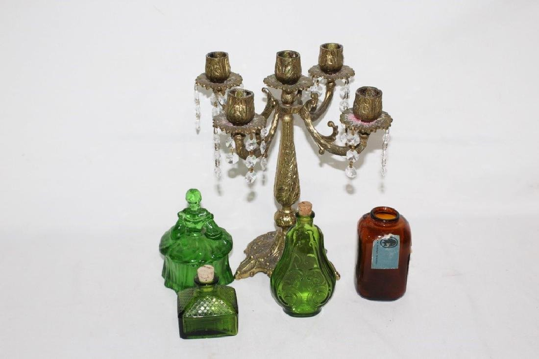 5 Candle Holder and green/brown glass bottles