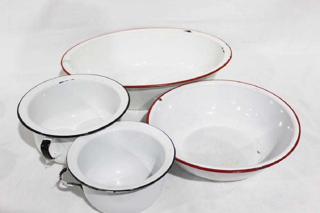 Enamel Lot - 2 Wash Basins, 2 Potty Pots