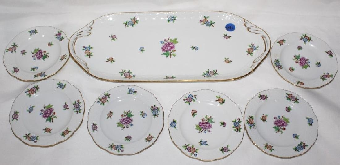 Large Tray and 6 Small Saucers - Herend China