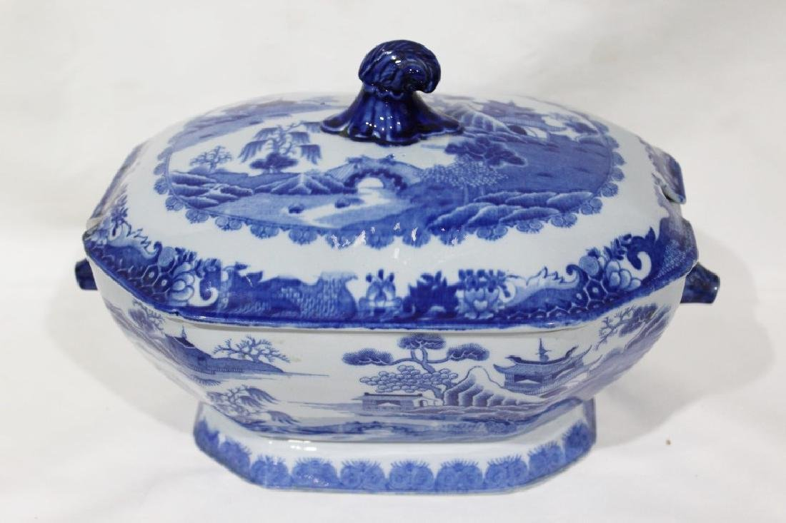 Blue Willow Soup Tureen with Hogs Head