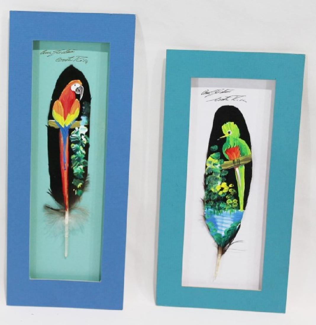 Pair of Signed Costa Rican Painted Bird Feathers