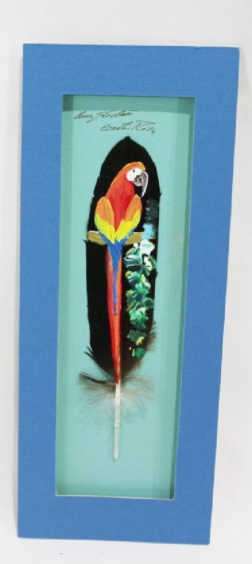 Pair of Signed Costa Rican Painted Bird Feathers - 2