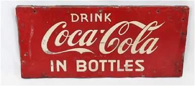 Vintage Metal Drink Coca-Cola Sign on Wood Frame