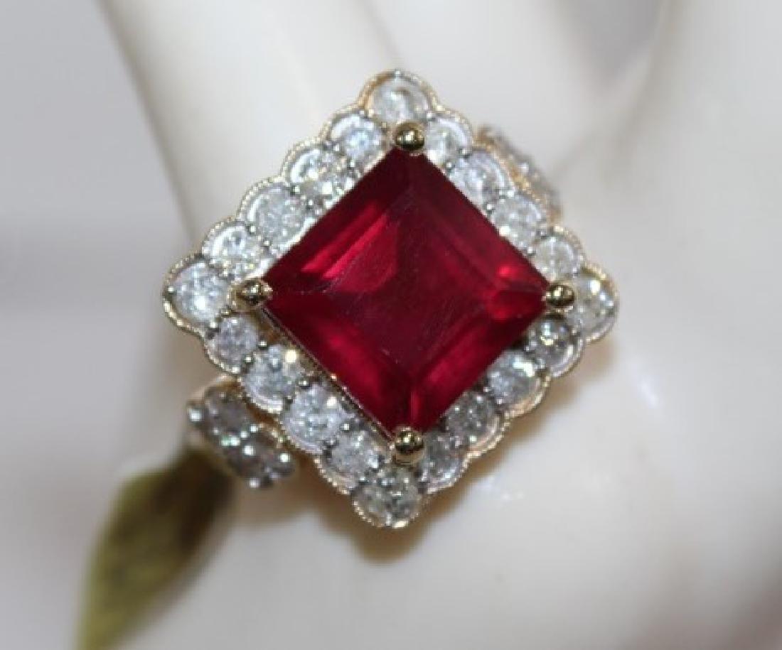 14 Kt Ruby & Diamond Ring - 8.98 ctw ruby ring