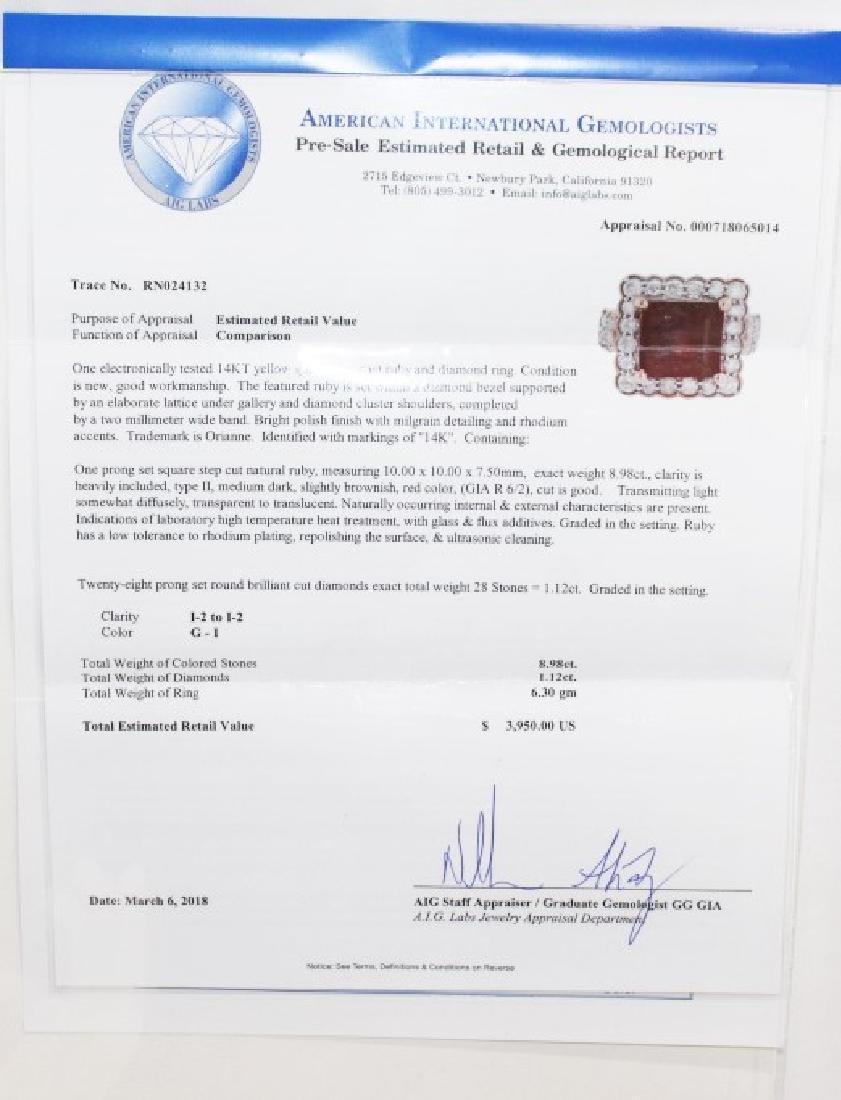 14 Kt Ruby & Diamond Ring - 8.98 ctw ruby ring - 4