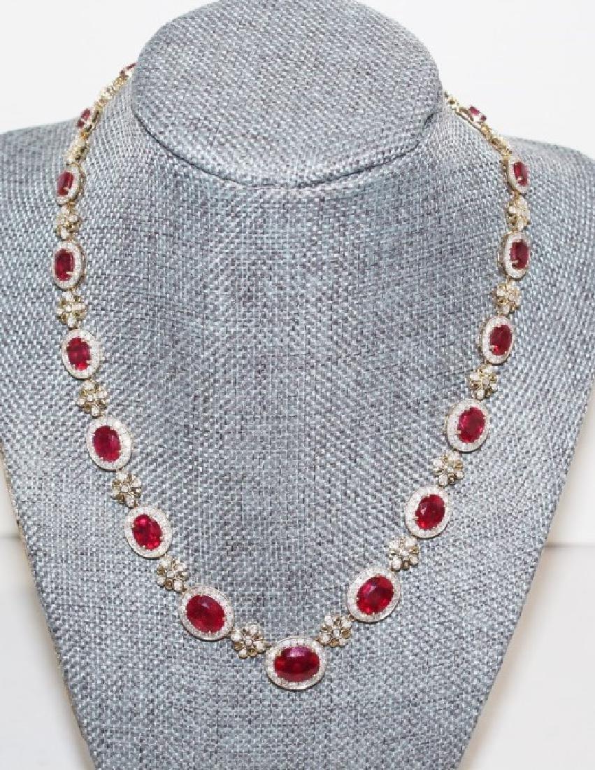 Ruby & Diamond Necklace - 34.66 ctw Rubies & 6.12 Ctw