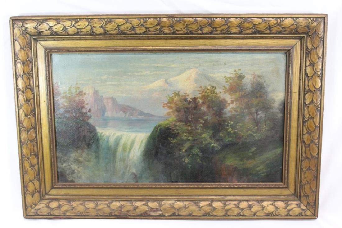 Antique Oil on Board - Landscape - Waterfall & Mountain