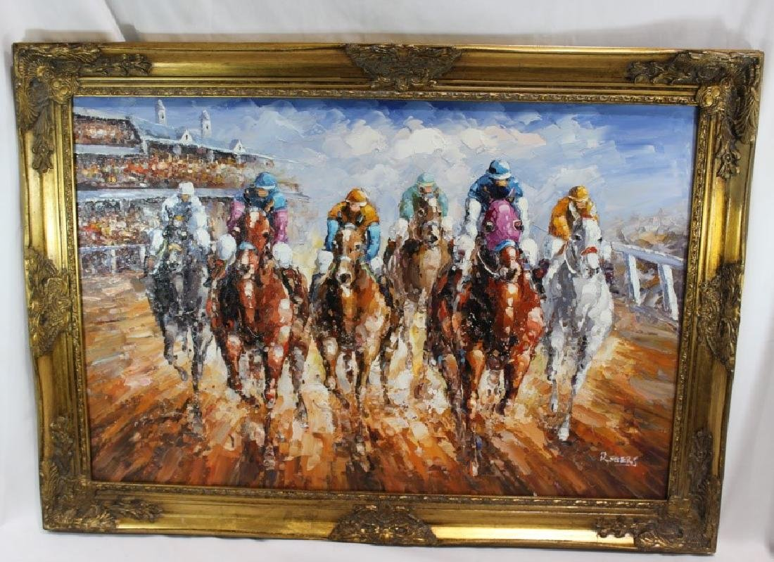 Rogers Signed Oil On Canvas - Horse Racing