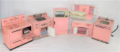 5 Piece VTG Pink Metal Kitchen Play Toys