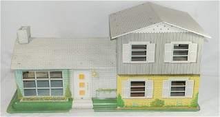 VTG Metal 2 Story Doll House Blue w/ Pool