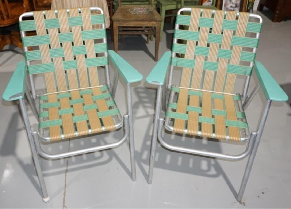 Mid Century Metal Folding Patio Chairs Teal