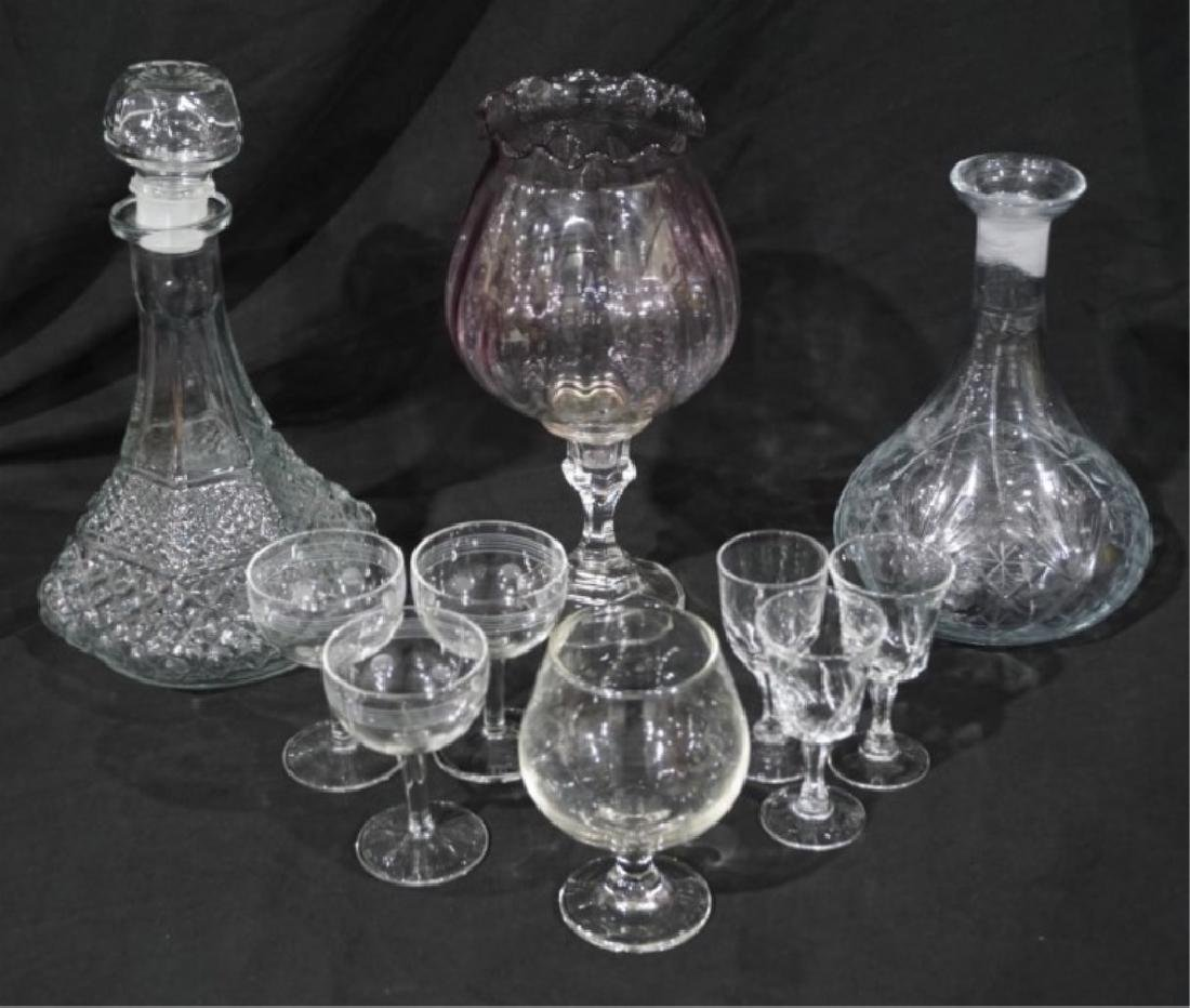 Lot of Glass Decanters & Misc. Crystal Glasses