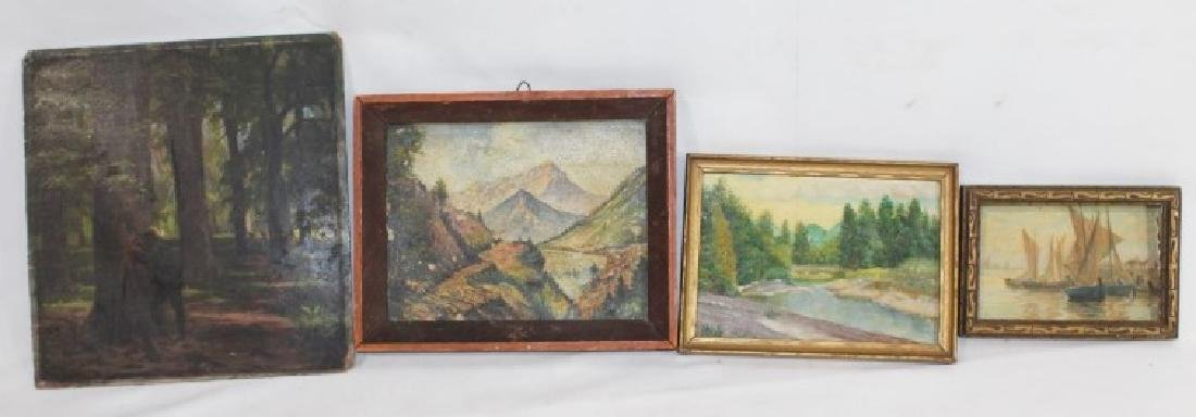 4 Small VTG Oil & Watercolor Paitings