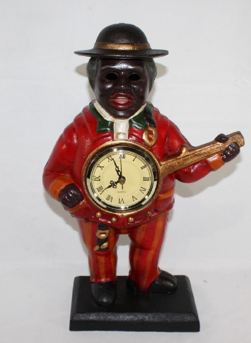 Cast Iron Black Man Playing Banjo - Clock