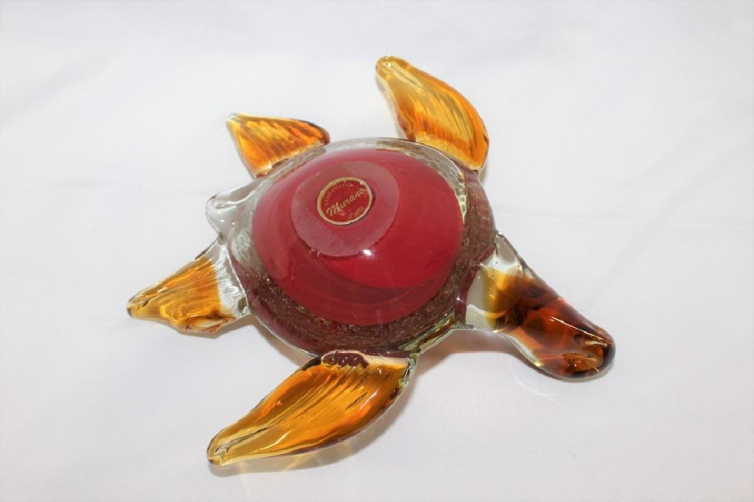 Murano Glass Red and Amber Turtle - 3