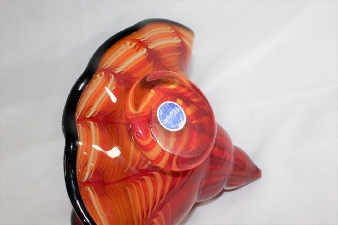 Murano Glass Red, Orange, Yellow & Black Shell - 3