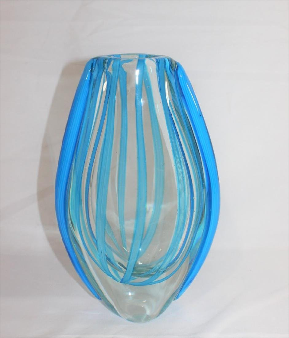Murano Glass Blue and Clear Glass Striped Vase