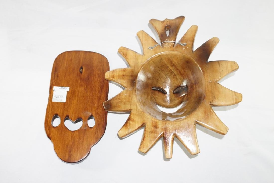 Pair of Wooden Carved Masks - 2