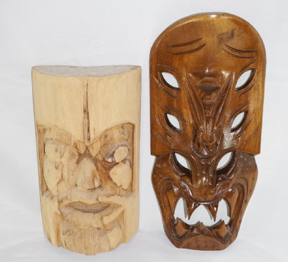 Pair of Hand Carved Wooden Face Masks Tiki Style