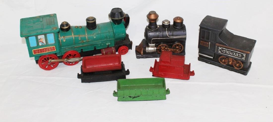 VTG Toy Train Lot & Train Bookends