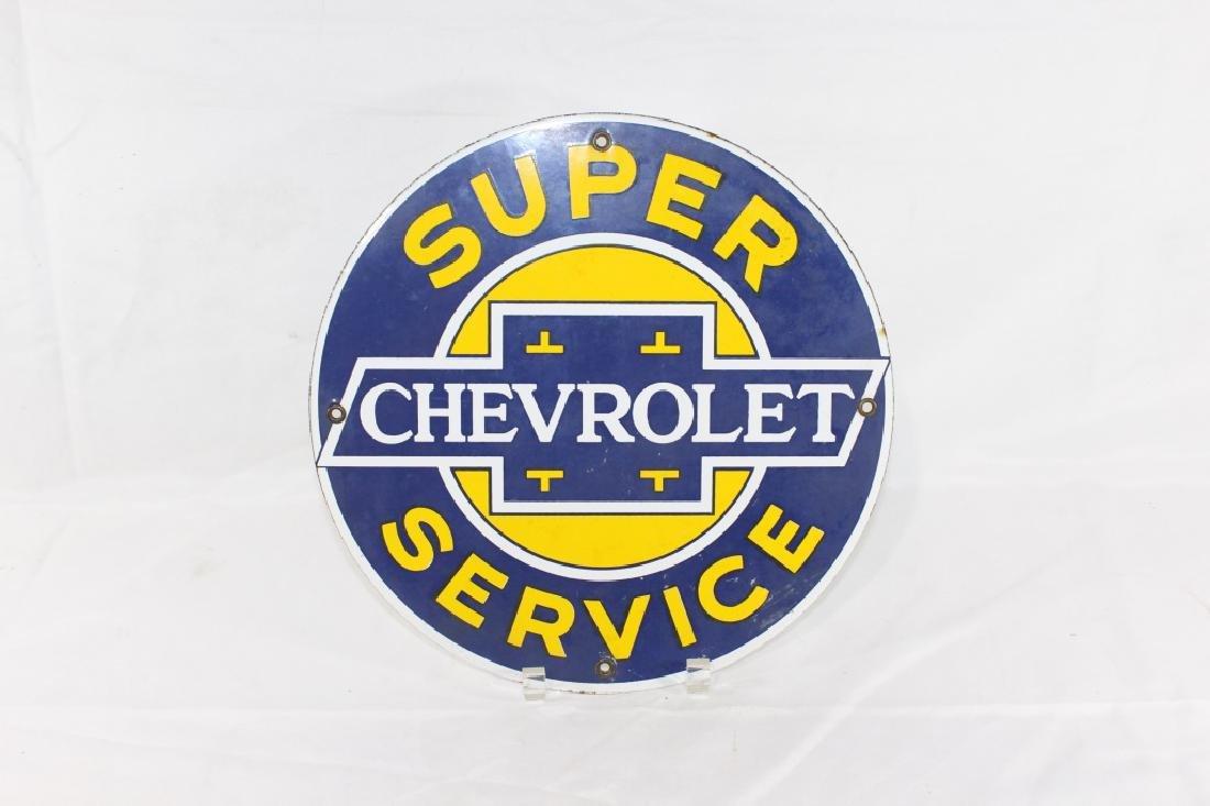 VTG Porcelain Super Chevrolet Service Sign