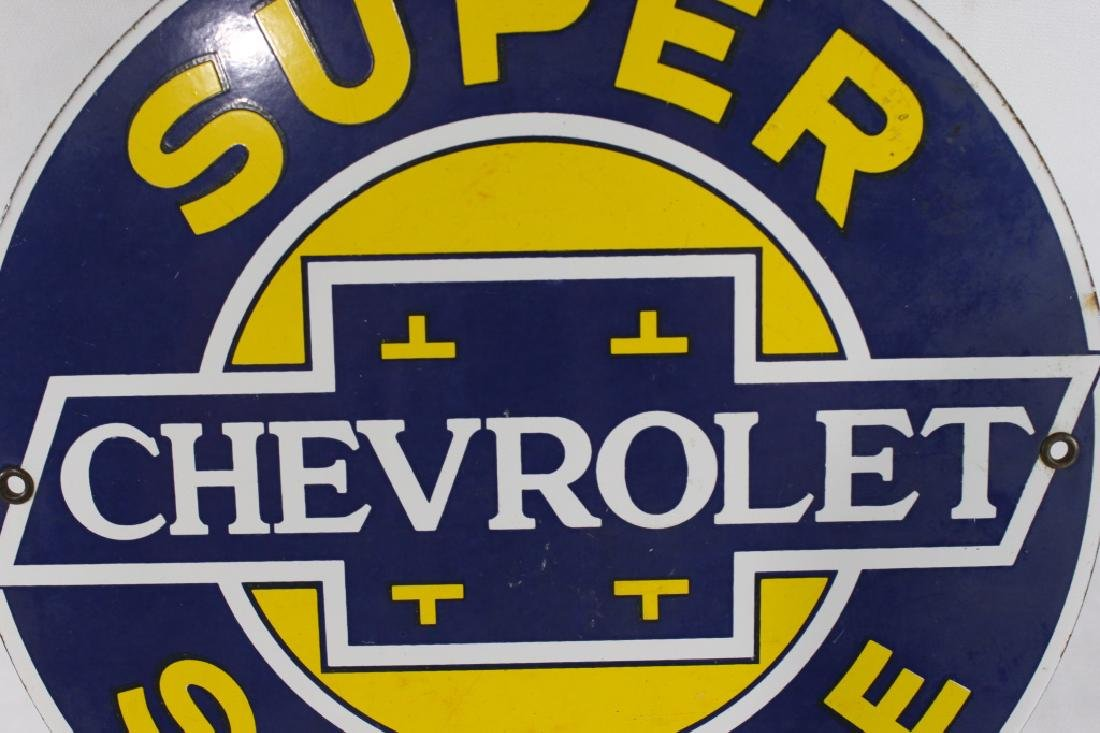 VTG Porcelain Super Chevrolet Service Sign - 3