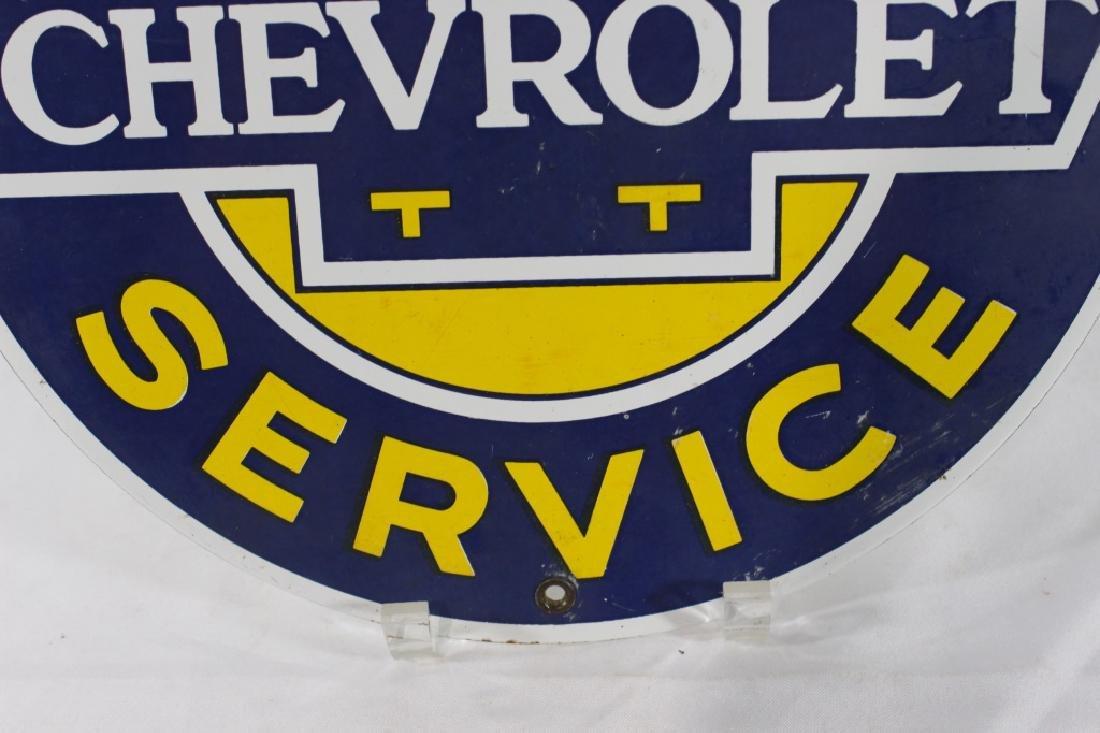 VTG Porcelain Super Chevrolet Service Sign - 4