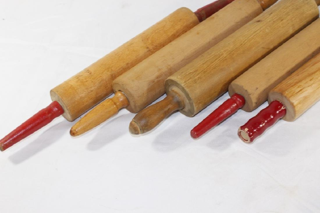Lot of 5 VTG Wooden Rolling Pins - 2