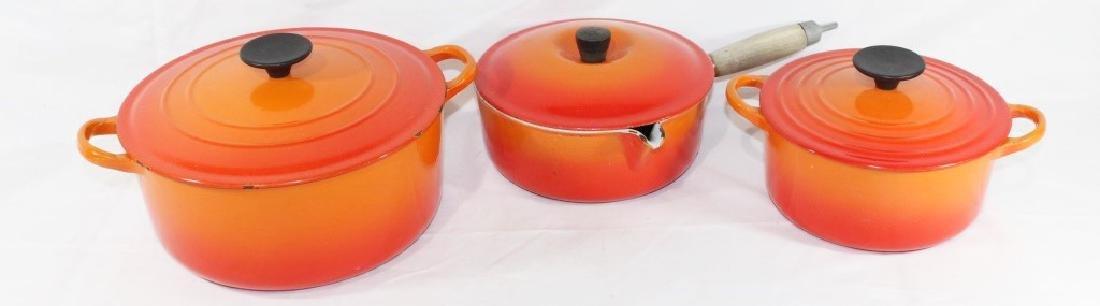 3 Piece Le Creuset Orange Pot Set