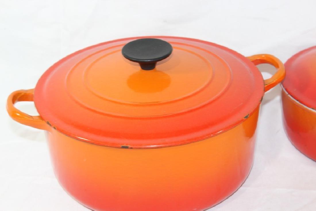 3 Piece Le Creuset Orange Pot Set - 2