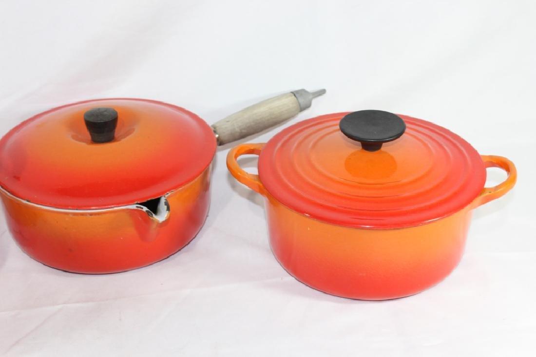 3 Piece Le Creuset Orange Pot Set - 3