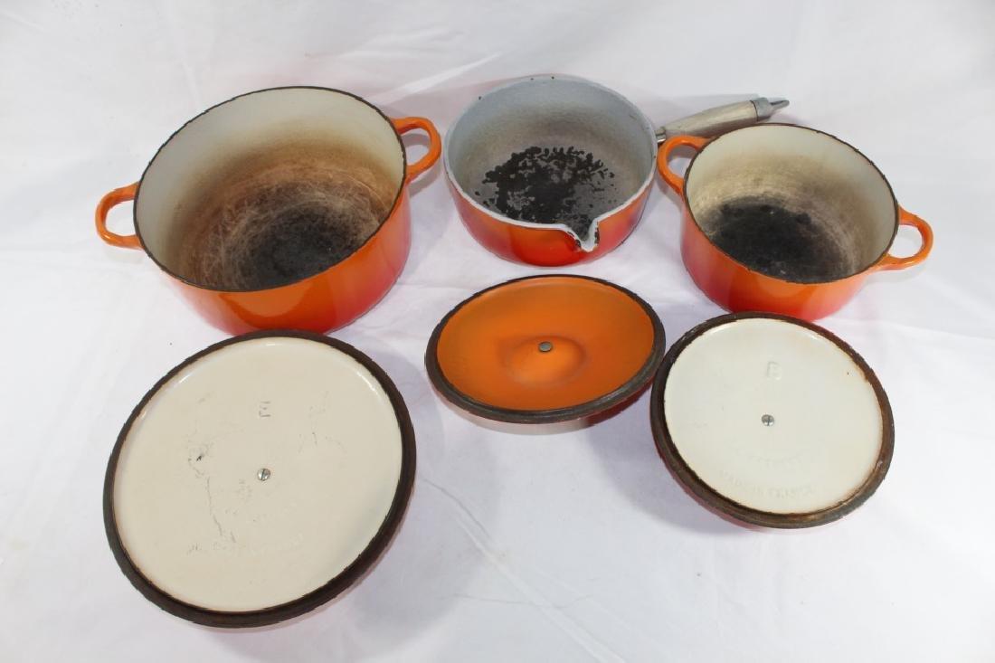3 Piece Le Creuset Orange Pot Set - 4