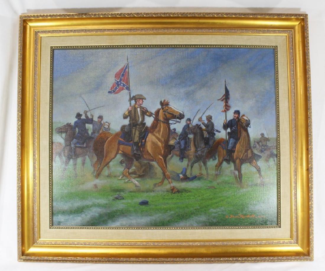 Civil War Oil on Canvas Signed Bruce Marshall Kewe