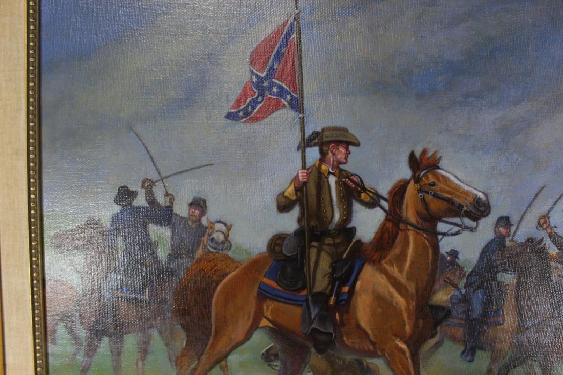 Civil War Oil on Canvas Signed Bruce Marshall Kewe - 2