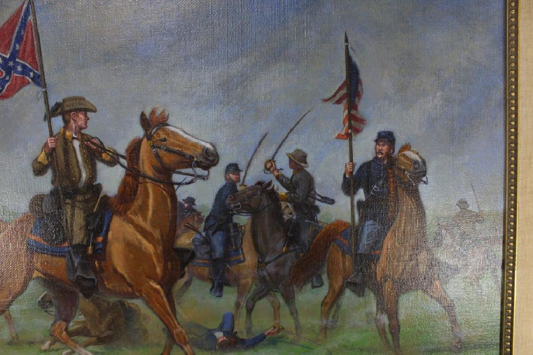 Civil War Oil on Canvas Signed Bruce Marshall Kewe - 3