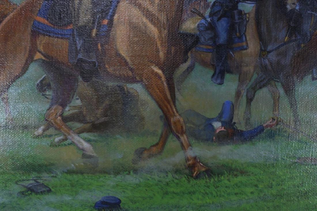 Civil War Oil on Canvas Signed Bruce Marshall Kewe - 5