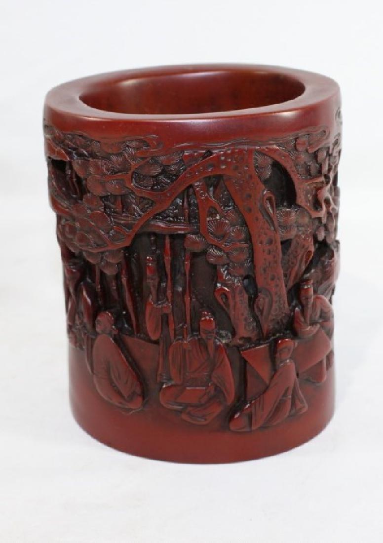 Sou Shan Stone Ware Vase w/ Asian Forest Scene