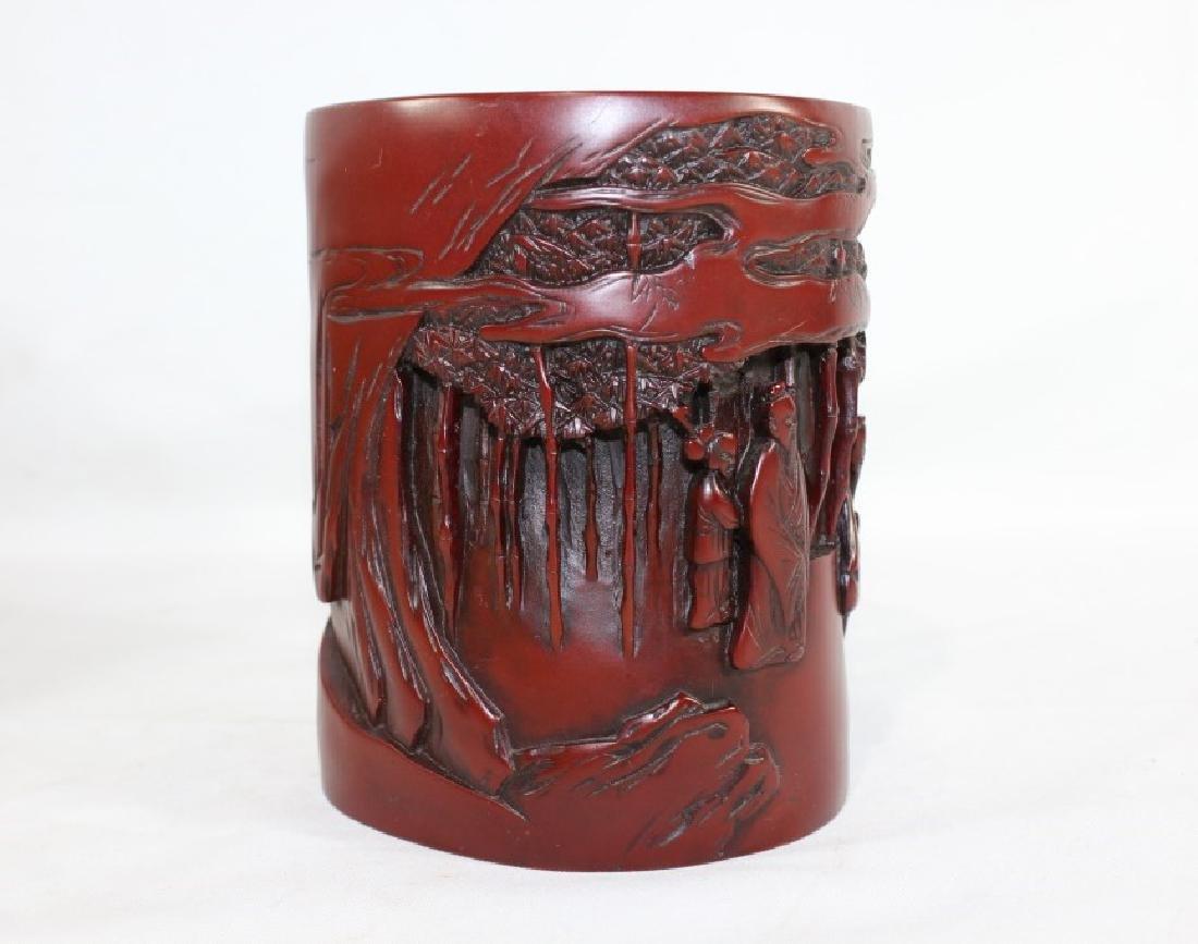 Sou Shan Stone Ware Vase w/ Asian Forest Scene - 2