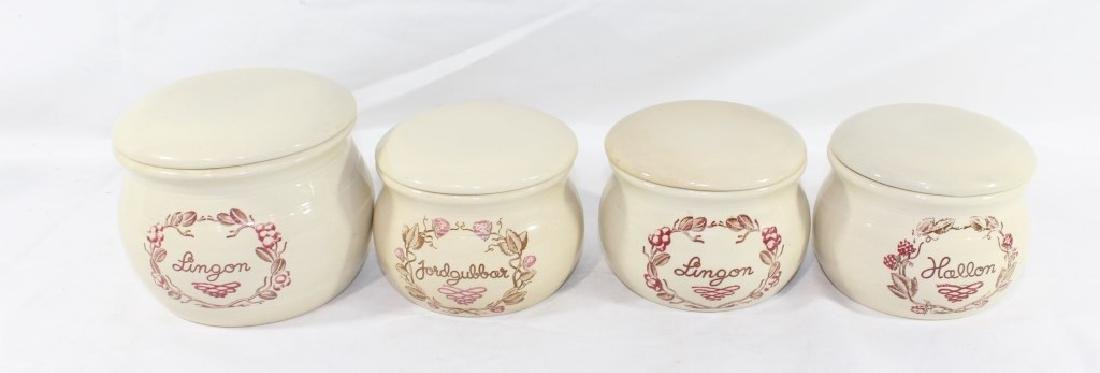 Set of 4 Swedish Kitchen Ceramic Cannisters -