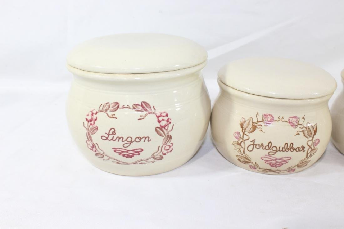 Set of 4 Swedish Kitchen Ceramic Cannisters - - 2
