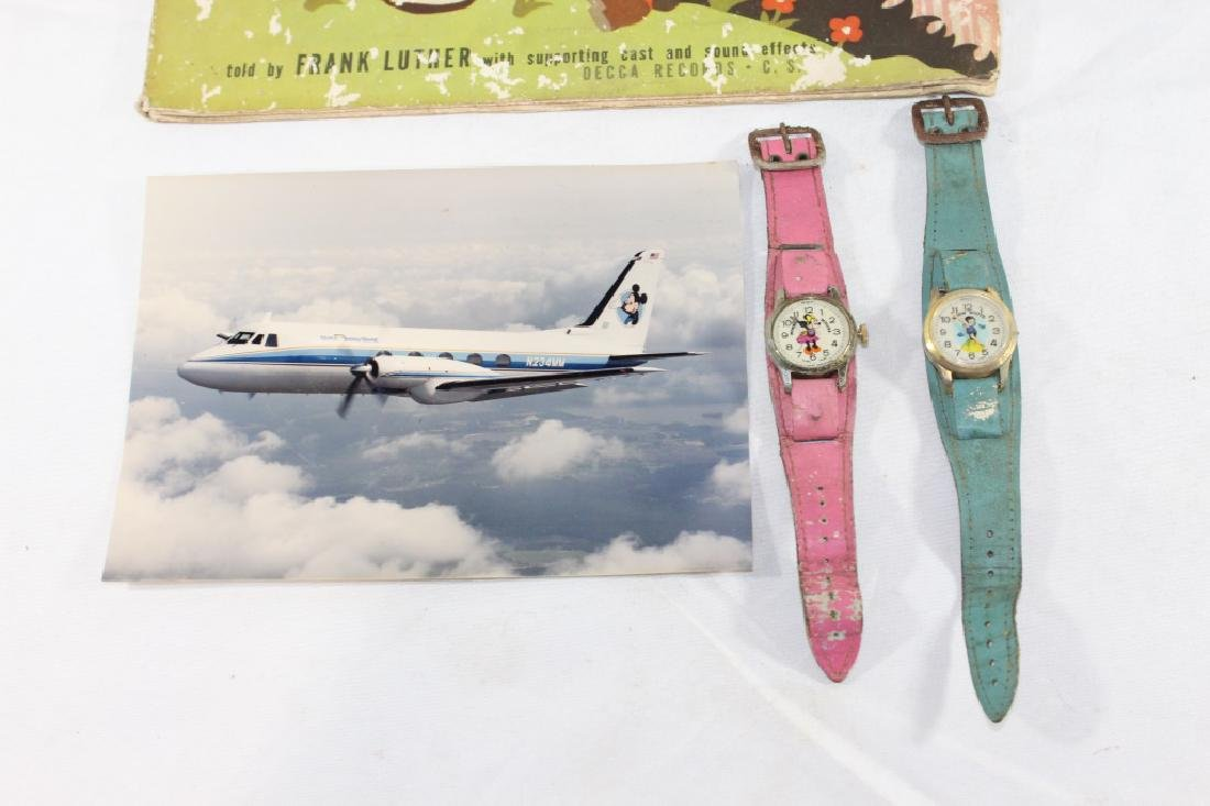 Misc Lot of Disney Watches, Disney Plane Photo, Book - 3