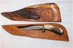 Bill Gerber Carved Knife with Case