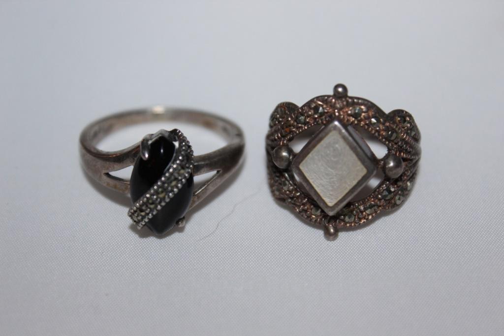 Pair of Sterling Silver Rings- Onyx & MOP