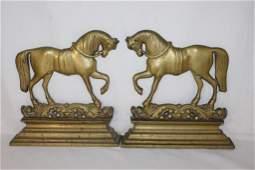 Pair - Victorian Solid Brass Doorstop/ Hearth Orn.