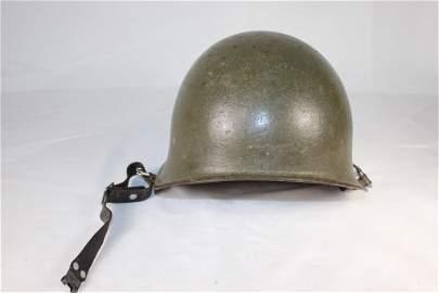 Vtg Military Metal Helmet Leather Liner/Strap