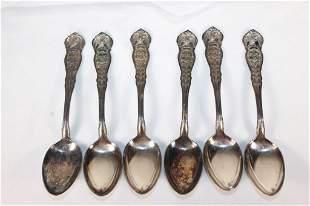 1915 Arkansas Set -6 Souvenir Eagle Series Spoons