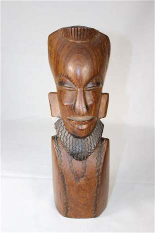 Wood Carved African Man's Head