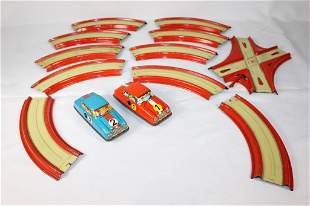 2 VTG Tin Lithographed Wind Up Race Cars & Tracks