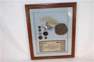 Vtg Confederate Shadowbox - Money